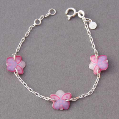 Bracelet enfant papillons mauves Ribambelle argent 925ème