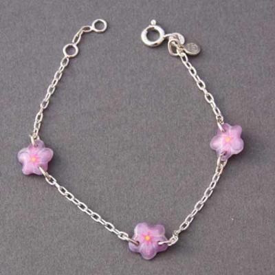 Bracelet enfant fleurs mauves Ribambelle argent 925ème