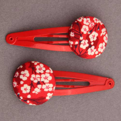 Duo de barrettes enfants Liberty Mitsi Valeria rouge