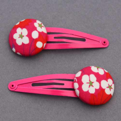 Duo de barrettes enfants Liberty Mitsi rose vif
