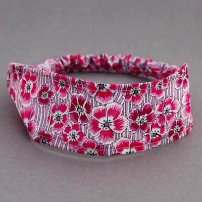 Bandeau cheveux enfant en Liberty Ellie Ruth rose