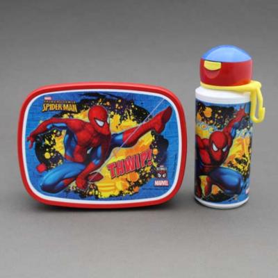 Lot gourde et boite déjeuner - goûter enfant Spiderman sans BPA Rosti Mepal