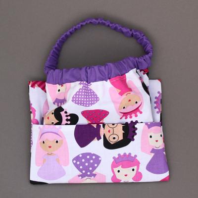 Serviette de table enfant cou élastique Princesses violettes et sa pochette assortie