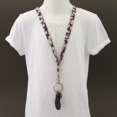 Tour de cou porte-clés en tissu Liberty Mitsi violet