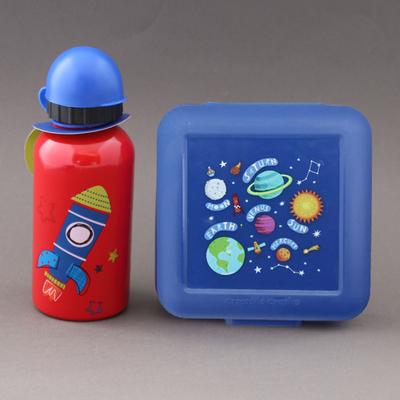 Lot boite à goûter et gourde Fusée et planètes Crocodile Creek sans BPA