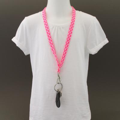 Tour de cou porte-clés en tissu Petit pan pépin rose
