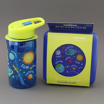 Lot grande gourde + boite à goûter sans BPA Planètes
