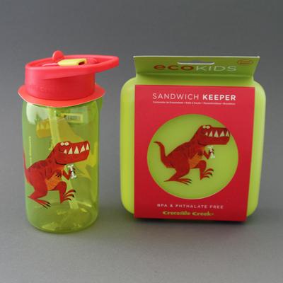 Lot grande gourde +boite à goûter sans BPA Dinosaure T-Rex