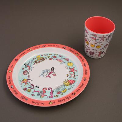 Lot assiette et verre Sirènes Tyrrell Katz pour enfants