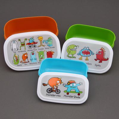 Lot 3 boites à goûter ou déjeuner enfants sans BPA Monstres Tyrrell Katz