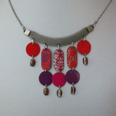 Collier rouge et violet Barbara Viel