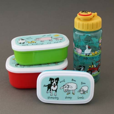 3 boites à goûter - déjeuner et gourde enfant Ferme sans BPA Tyrrell Katz