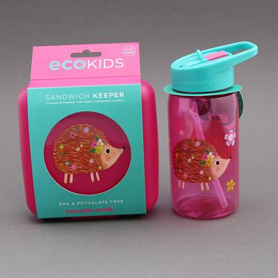 Lot grande gourde et boite à goûter Hérisson sans BPA Crocodile Creek pour enfant