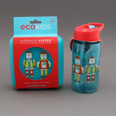 Lot gourde + boite à goûter sans BPA 2 Robots