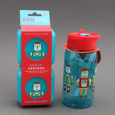 Lot grande gourde et deux boites à goûter sans BPA*  2 Robots assorties Crocodile Creek