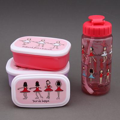 Lot boites à goûter - déjeuner + gourde sans BPA Danseuses
