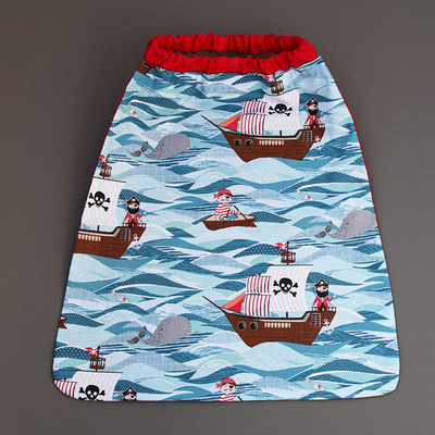 Serviette de cantine enfant élastique Pirates en mer
