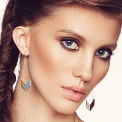 Boucles d'oreilles Tribal plaquées or et bleu Shlomit Ofir