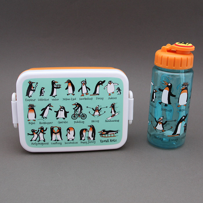 Lot boites à goûter - déjeuner et gourde Pingouins sans BPA Tyrrell Katz enfants