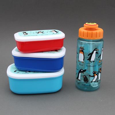 Lot 3 boites à goûter - déjeuner + gourde sans BPA Pingouins