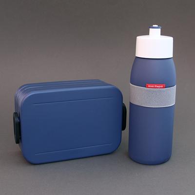 Lot gourde et boite à déjeuner Bleu denim sans BPA
