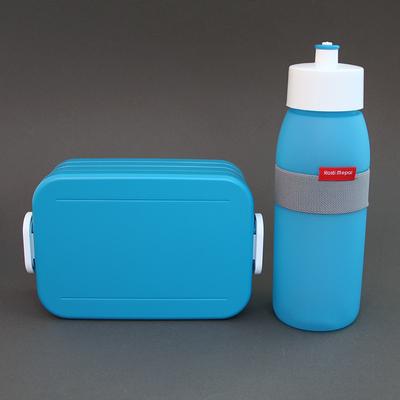 Lot gourde et boite à déjeuner bleu turquoise sans BPA