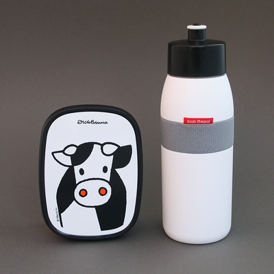 Lot gourde et boite goûter enfant Vachette sans BPA