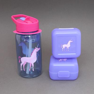 Lot deux boites à goûter et gourde enfants Licorne Crocodile Creek sans BPA