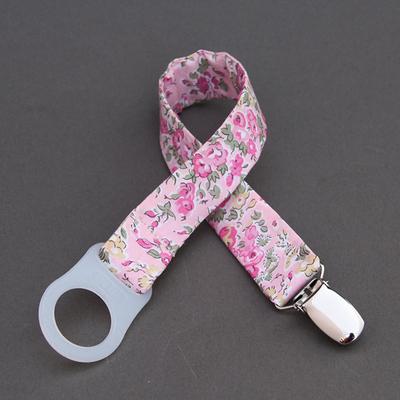 Attache tétine / sucette sans anneau Liberty Tatum rose