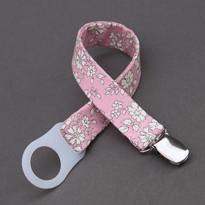 Attache tétine / sucette sans anneau Liberty Capel rose