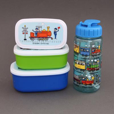 Lot 3 boites à goûter ou déjeuner + gourde sans BPA Trains