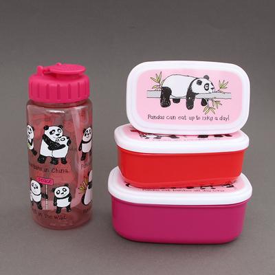 Lot 3 boites à goûter - déjeuner et gourde Pandas sans BPA Tyrrell Katz