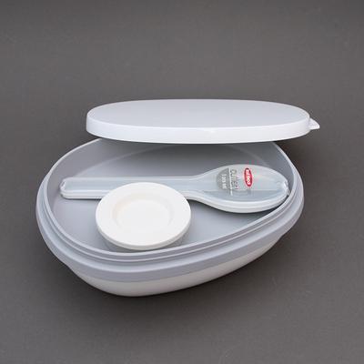 Lot boite à déjeuner Ellipse Duo blanche et couverts