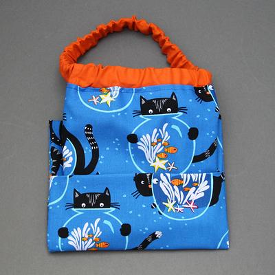Serviette de cantine élastique enfant Chat et poissons et sa pochette assortie