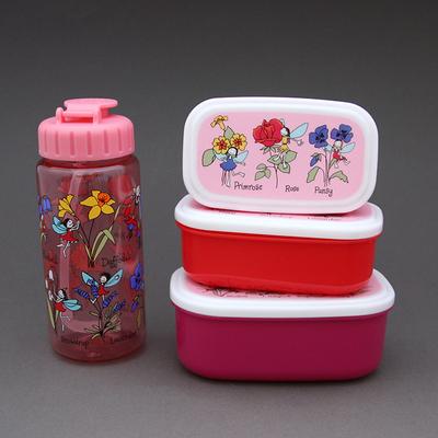 Lot 3 boites à goûter - déjeuner et gourde Fées sans BPA