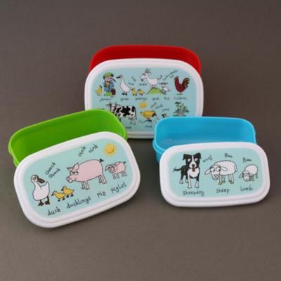 Lot 3 boites à goûter ou déjeuner enfants sans BPA Animaux de la ferme