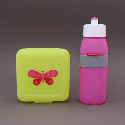Lot gourde rose et boite à déjeuner Papillon sans BPA