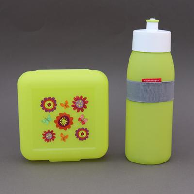 Lot gourde citron vert + boite à déjeuner sans BPA Jardin