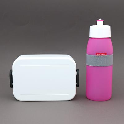 Lot sans BPA boite déjeuner blanche et gourde rose