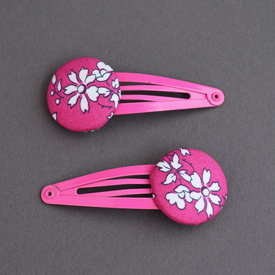 Duo de barrettes enfants Liberty Capel fuchsia