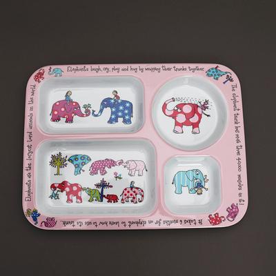 Assiette enfants à compartiments Eléphants