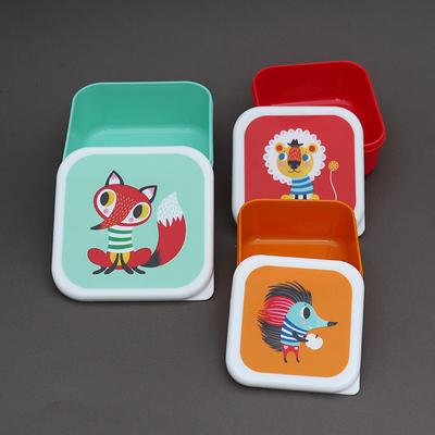 3 boites à goûter sans BPA pour enfants Animaux