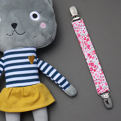 Attache doudou en Liberty Phoebe rose