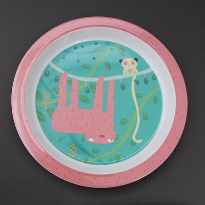Assiette pour enfant Le paresseux et son copain Lémurien