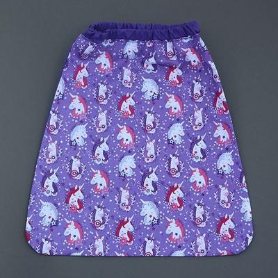Serviette enfant cou élastique Licornes violette