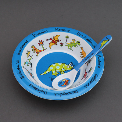 Lot pour bébé bol et cuillère Dinosaures