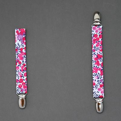 Lot attache tétine et attache doudou en Liberty Wiltshire rose
