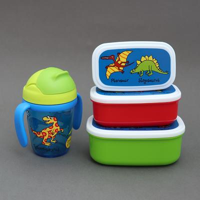 Lot gourde avec poignées et 3 petites boites Dinosaures