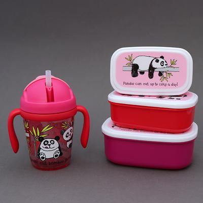 Lot gourde avec poignées et 3 petites boites Pandas