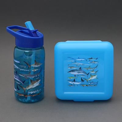 Lot gourde + boite à goûter sans BPA Les requins